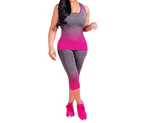 JUNBOON Womens Sexy Sleeveless Printed Racerback Tank Top Capris Pants Outfits 2 Piece Jumpsuits Sweatsuit Rose -