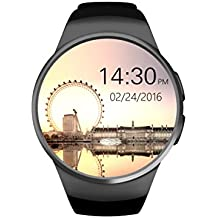 KW18 Bluetooth Smart Watch with Touch Screen and Heart Rate Monitor Play music Smart Health Watch Support SIM TF/SD Card for iPhones Samsung Huawei Gear S2 Android Multi languages (Black)