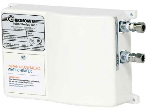 Controlled Heater Flow Tankless Water (Chronomite M-30L/120 HTR 120F 120-Volt 30-Amp Instant-Flow Micro Low Flow Tankless Water Heater, 120-Degree Preset)