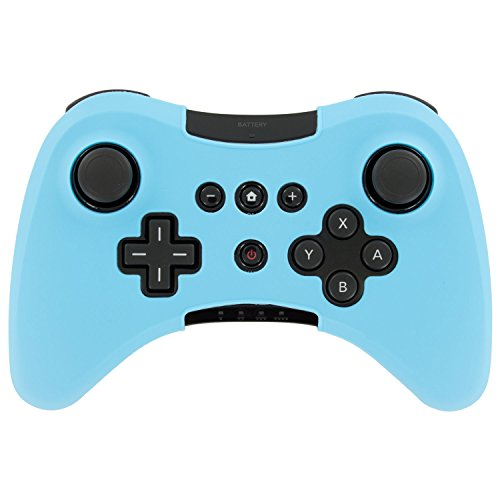 (Soft Silicone Case Cover Skin Full Body Protector For Wii U Pro Controller Rubber Case (Light Blue))