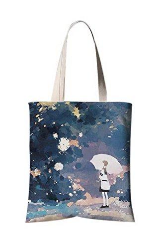 La bolsa de asas del viaje del ilustrador de la flor del estilo japonés La muchacha melancólica