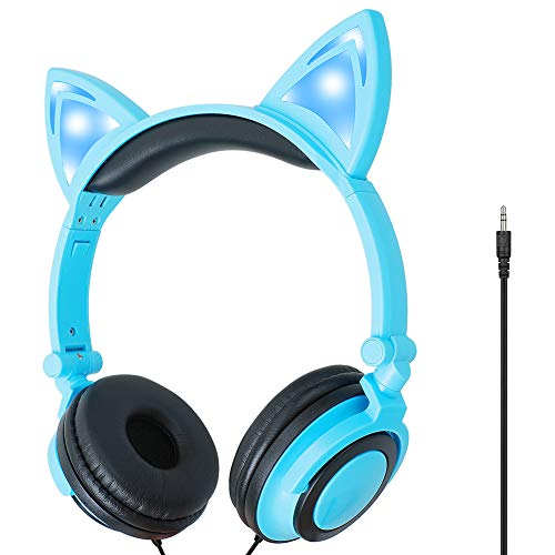 HELEP Kids Headphones,On-Ear Comfortable with Cute LED Glowing Cat Ears Headphones for Kids,Lightweight Noise-Canceling Headset for Children Toddler Girls Boys Cellphones Ipad Table (Blue)
