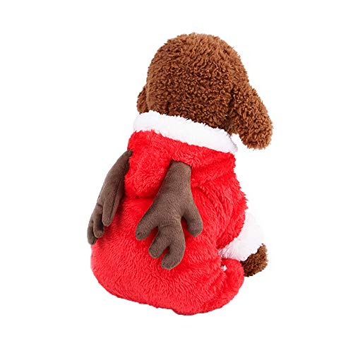 Clearance Christmas Puppy Dog Cat Winter Thicken Hoodie Sweater Pet Classic Cute Elk Sweatshirt Dress Clothes (Red, S)