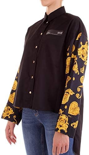 Versace Jeans Couture Camicia Donna Nera con Stampa Oro B0HVB606-VDM200 Mix Tess:S0770 899 Twill VI Print Gioielli