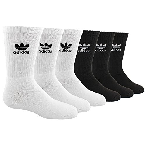 - adidas Boys / Youth Originals Trefoil Crew Socks (6-Pack), White/Black, Large