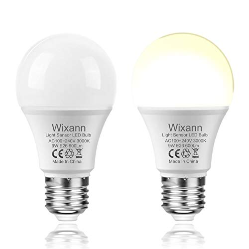 Dusk to Dawn A19 LED Light Bulb, Built in Light Sensor, 9W 3000K Warm White, E26, AC120V,Automatic On/Off Indoor/Outdoor Yard Porch Patio Garden (2 Pack) by Wixann