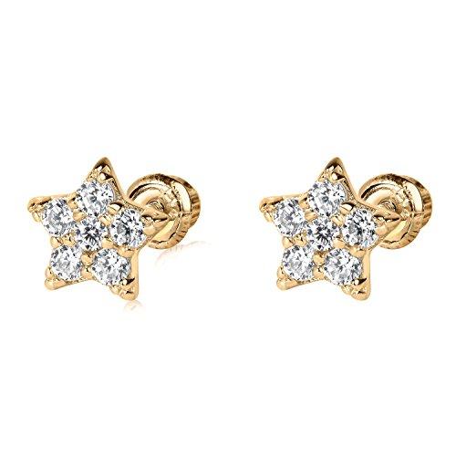 14k YG Star Stud Earrings 4892 42700