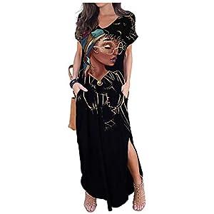 AZPSRT Women's Casual Loose Long Dress T-Shirt Dress Long Sleeve Maxi Dresses with Pockets