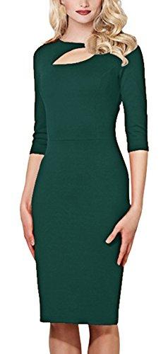 Bestfort Damen 1/2 Arm Elegant Kleid Etuikleid O-Ausschnitt Business Stretch Partykleid Spitze Cocktail Figurbetontes Die Taille Sommer Grün