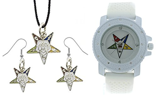 3 Piece Jewelry Set - Order of the Eastern Star Pendant, Hook earrings & Order of the Eastern Star Watch. White Silicone Band White CZ Bling Face Dial Watch