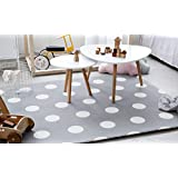 Little Bot baby foam play mat, non-toxic, odourless and ultra-cushioned, 180cm by 150cm. Little car and Polka dots (space grey) by Little Bot