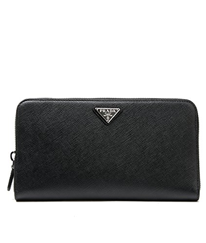 Wiberlux Prada Women's Triangle Logo Detail Zip-Around Leather Long Wallet Pencil
