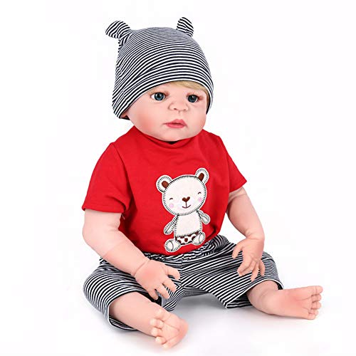 FHSGG 22 / 55Cm Realistic Reborn Lovely Boy Baby Dolls Blue Eye Pelo Rubio Vinilo De Silicona Suave Lifelike New Born Doll