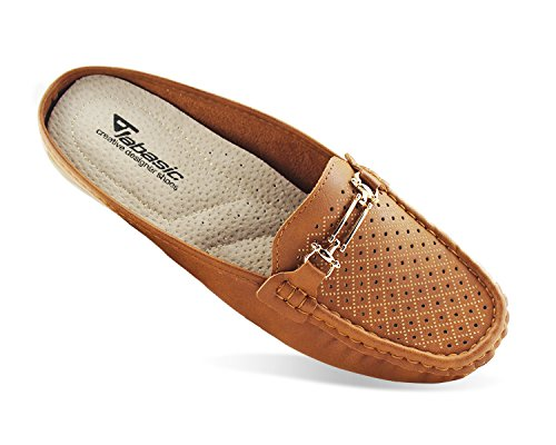 Moccasins On Backless Women Brown Jabasic Slip Mule Easy Penny Slide Buckle Shoes Loafer dIq7wR8zq