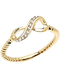 14k Yellow Gold Dainty Diamond Infinity Promise Ring With Rope Design Band