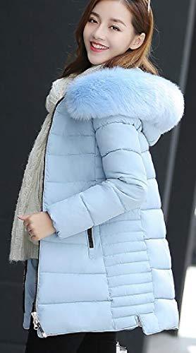 Thicken Womens Faux Hooded Parka Fur Lining Jacket TTYLLMAO Long Winter Warm Sleeve Coat Long Blue 70dpZq