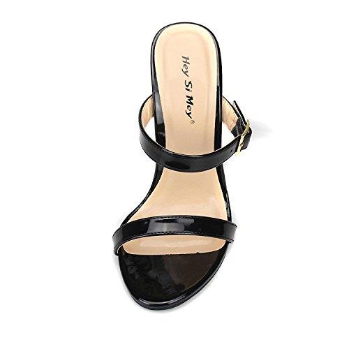 L@YC Damen High Heels Komfort PU Frühling Sommer Casual Comfort Low/Rot/Schwarz Black
