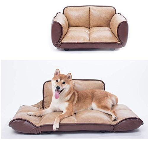 Joe's Home Luxury Leather Pet Dog Sofa Bed, Adjustable Stylish Memory Foam Couch Pet Bed for Small Medium Dogs Cats, 28.4