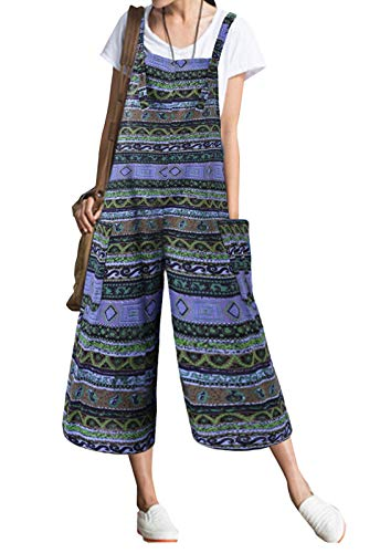 Flygo Womens Baggy Boho Print Jumpsuits Loose Overall Linen Wide Leg Pants (Medium, Green)