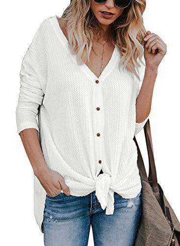 Lovezesent Women Loose Knit Blouse Front Tie Knot V Neck Button Down Shirts Top