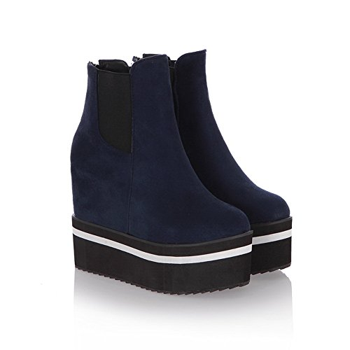 Womens Platform Heighten Inside Frosted Elastic Band BalaMasa Boots Blue HdzqxfndE5