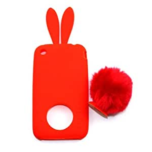 Demarkt Cute Rabbit Soft Silicon Case Cover for iPhone 3 in Red