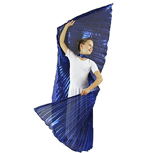 Danzcue Child Medium/Large Solid Royal Blue Belly Dance Worship Angel Wings With Sticks