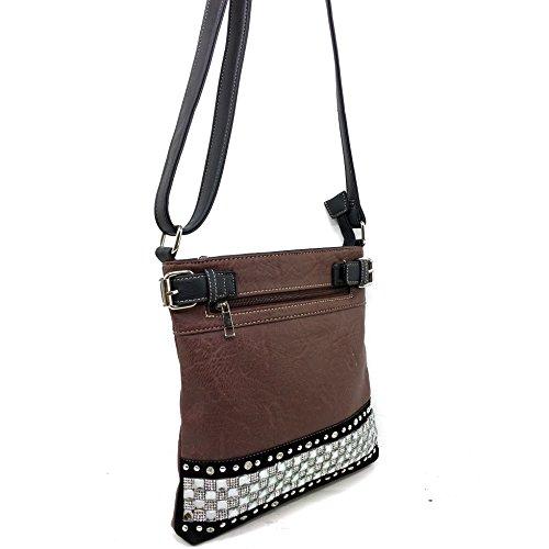 Zipper Messenger Body Justin Crystal Handbag West Purse Carry Cross Rhinestone Bling Concealed Brown Pastel rXwvX08nxq