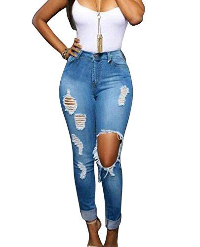 Jeggings Pantalon vaquero de mujer pantalones elasticos Casual largos pantalones rotos Azul claro