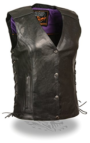 - Milwaukee Women's Leather Vest (Black/Purple, XX-Large)