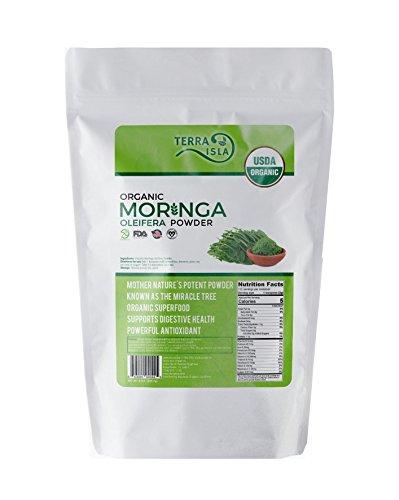 Premium Organic Moringa Oleifera Powder by Terra Isla 8 oz | 100% USDA Certified | Non-GMO | Pure & Raw Superfood | All-Natural Energy Booster
