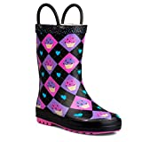 ZOOGS Children's Rubber Rain Boots, Little Kids & Toddler, Boys & Girls Patterns, Black (Cupcake)