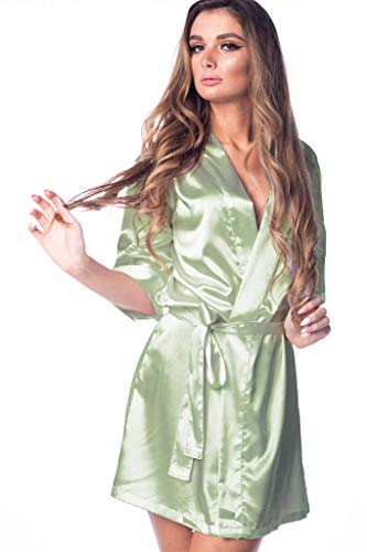 Women's Robe Silky Satin Kimono for Bride Bridesmaids Flower Girls Comfy Robe for Kids and Plus Size Women YM - Silky Sage
