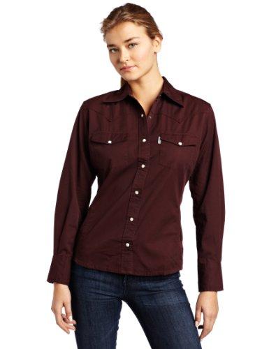 Carhartt Womens Long Sleeve Twill Snap Front Shirt Port  Closeout  Medium