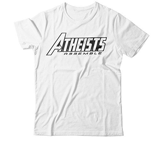 Faithless T-shirts - Faithless Mortal Men's Atheists Assemble T-Shirt … (Medium, White)