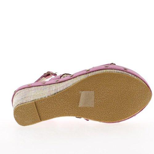 Sandales compensées fuschias à talons de 11 cm et plateau de 3,5 cm