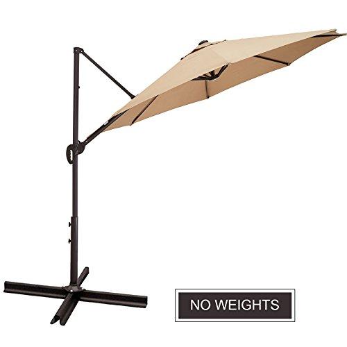 Wide Angle Sunshade - CO-Z 10 ft Cantilever Umbrella Offset Umbrella Outdoor Patio Hanging Umbrella with 5 Lock Position, 360° Rotation Sun Shade Cantilever Crank Tilt Canopy Easy Open Lift