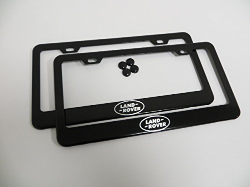 set-of-2-land-rover-logo-black-metal-license-plate-frame-holder-with-screw-cap-covers