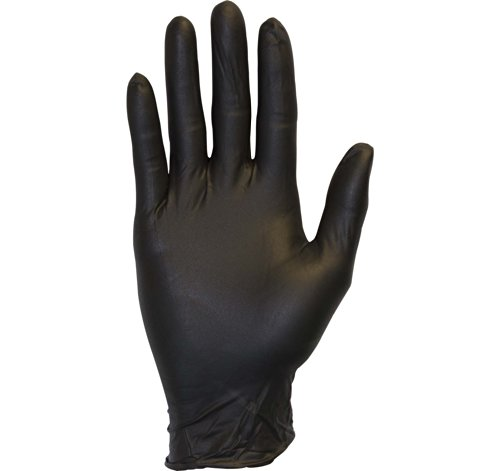 Black Nitrile Exam Gloves - Medical Grade, Disposable, Powder Free, Latex Rubber Free, Heavy Duty, Textured, Non Sterile, Work, Medical, Food Safe, Cleaning, Wholesale, Size Large (Box of 100) ()