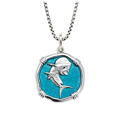 Guy Harvey Enameled Dolphinfish Medallion in Sterling Silver on 22