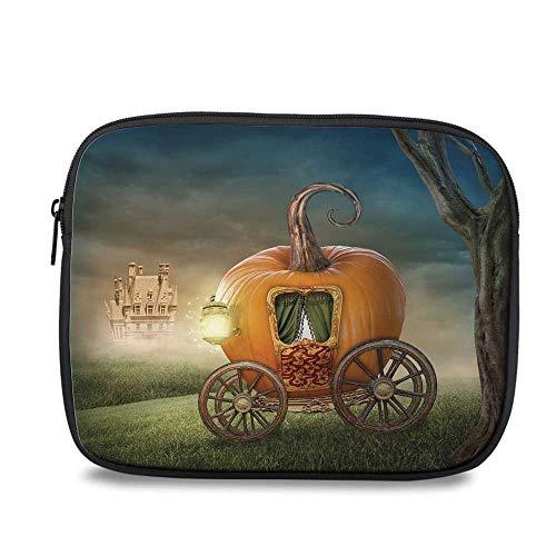 Kids Decor Durable iPad Bag,Abstract Fairytale Image with Orange Pumpkin Light Scenery Princess Ella Image for iPad,10.6