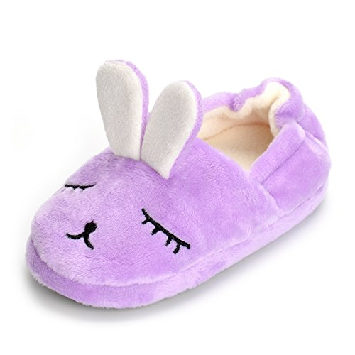 ESTAMICO Toddler Girls' Bunny Slipper Cartoon Rabbit Warm Winter House Shoes, Purple, US 7-8 M