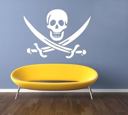 Skull and Crossbones Pirate Wall Decal Vinyl Wall Sticker Art