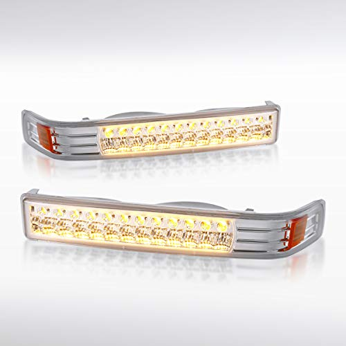 Autozensation For Chevy S10 / Blazer/GMC Sonoma Chrome Clear LED Front Bumper Lights