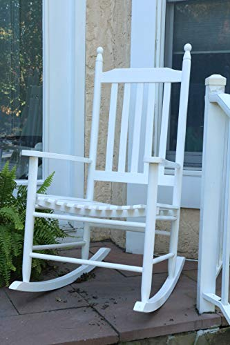 LIFE Home Oliver and Smith - Nashville Collection - Wooden White Patio Porch Rocker- Rocking Chair - Made in USA - 24.5