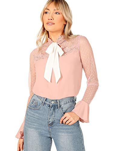 Lace Mesh Tie - WDIRARA Women's Lace Tie Neck Polka Dots Contrast Mesh Flounce Sleeve Blouse Top Pink S