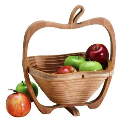 Amazoncom Foldable Wood Fruit Basket Apple Collapsible Fruit