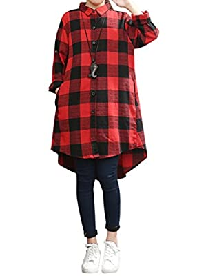 Celmia Womens Casual Long Sleeve Classic Plaid Mini Dress Color Block Plus Size High Low Hem Buttom