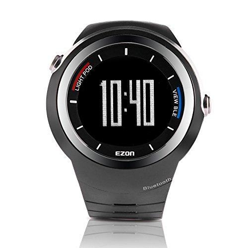 EZONスマートBluetooth腕時計多機能腕時計スポーツデジタル腕時計for iOS / Android B00OU8REJI ブラック ブラック
