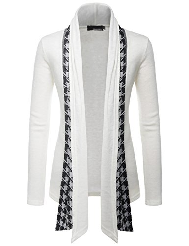 (GD92) Slim Fit Hound tooth Check Open Front Shawl Collar Stylish Wool Cardigan WHITE US XL(Tag size 3XL) (Mens Dressy V Neck 3xl Sweater)